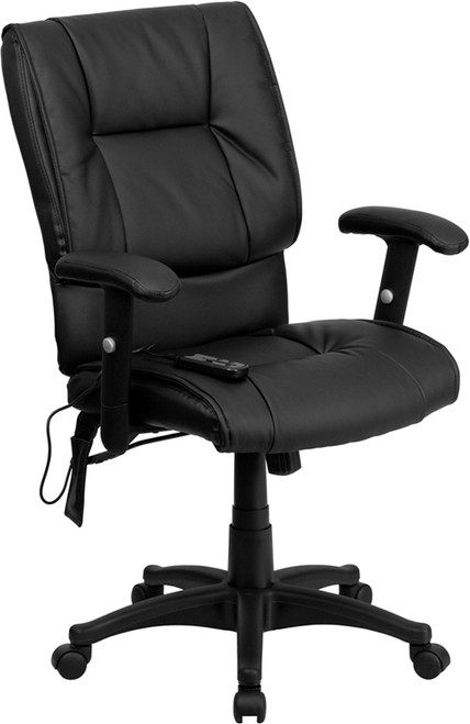 Mid-Back Massaging Black Leather Executive Office Chair , #FF-0233-14