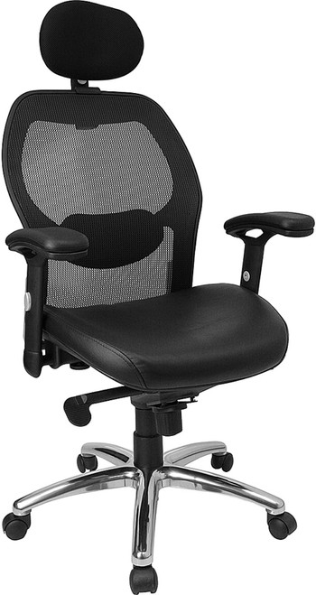 High Back Super Mesh Office Chair with Black Italian Leather Seat and Knee Tilt Control , #FF-0030-14