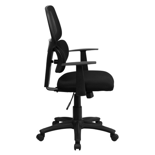Mid-Back Black Mesh Chair with Flexible Dual Lumbar Support , #FF-0037-14