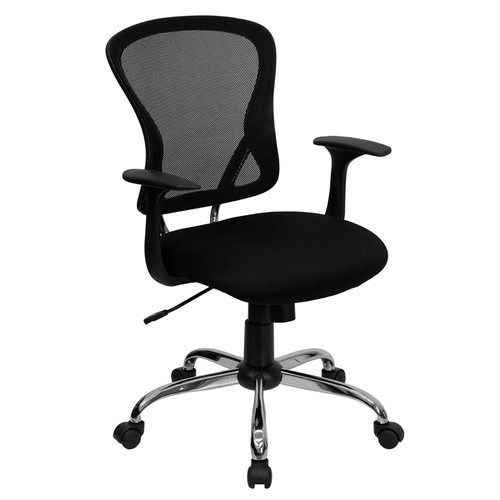 Mid-Back Black Mesh Office Chair with Chrome Finished Base , #FF-0063-14
