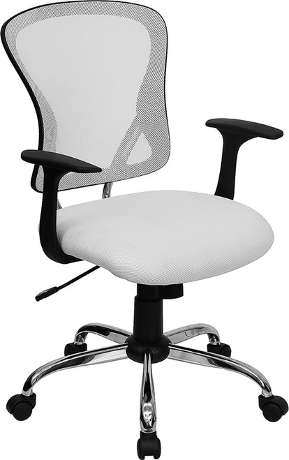 Mid-Back White Mesh Office Chair with Chrome Finished Base , #FF-0064-14