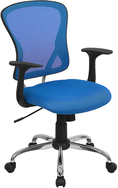Mid-Back Blue Mesh Office Chair with Chrome Finished Base , #FF-0066-14