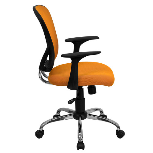 Mid-Back Orange Mesh Office Chair with Chrome Finished Base , #FF-0072-14