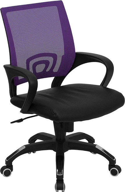 Mid-Back Purple Mesh Computer Chair with Black Leather Seat , #FF-0076-14