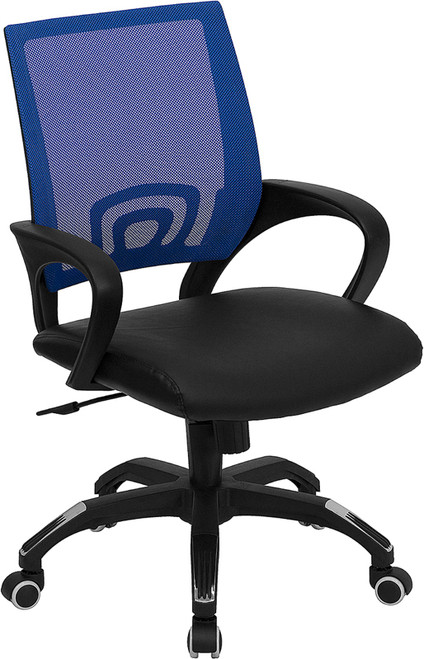 Mid-Back Blue Mesh Computer Chair with Black Leather Seat , #FF-0077-14