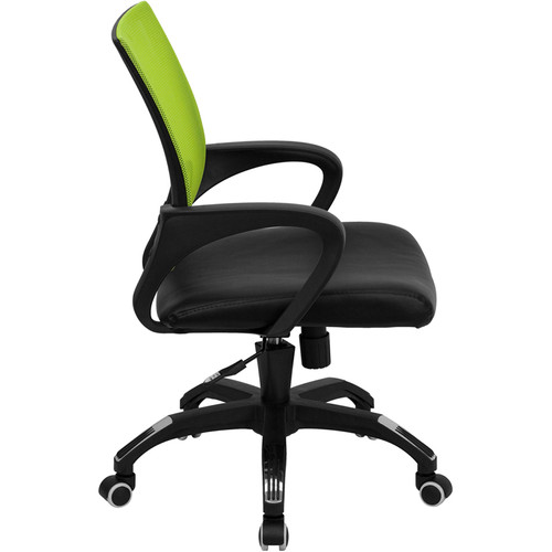 Mid-Back Green Mesh Computer Chair with Black Leather Seat , #FF-0078-14