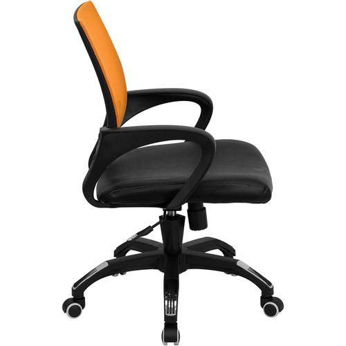 Mid-Back Orange Mesh Computer Chair with Black Leather Seat , #FF-0079-14
