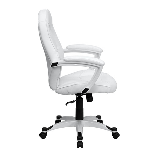 Mid-Back White Leather Executive Office Chair , #FF-0201-14