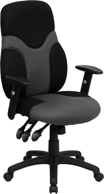 High Back Ergonomic Black and Gray Mesh Task Chair with Adjustable Arms , #FF-0270-14