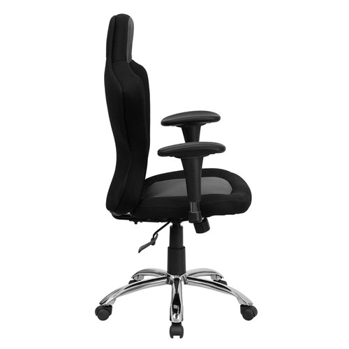 Race Car Inspired Bucket Seat Office Chair in Gray & Black Mesh , #FF-0271-14