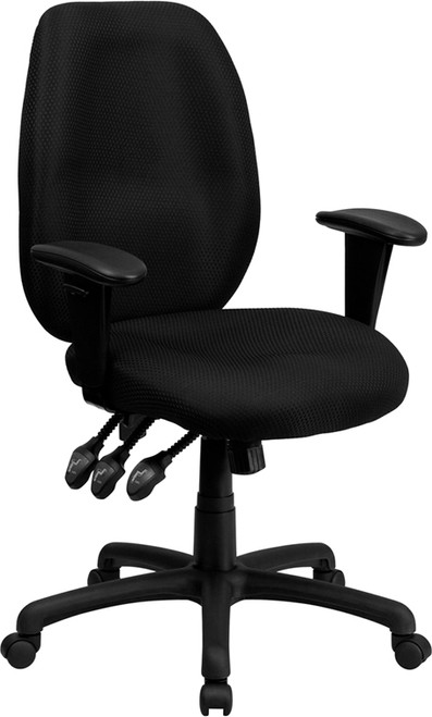 High Back Black Fabric Multi-Functional Ergonomic Task Chair with Arms , #FF-0322-14