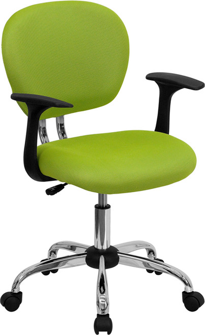 Mid-Back Apple Green Mesh Task Chair with Arms and Chrome Base , #FF-0100-14