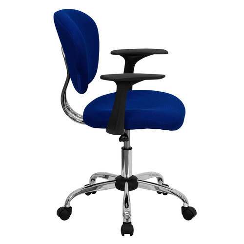 Mid-Back Blue Mesh Task Chair with Arms and Chrome Base , #FF-0108-14