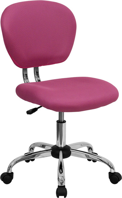 Mid-Back Pink Mesh Task Chair with Chrome Base , #FF-0118-14