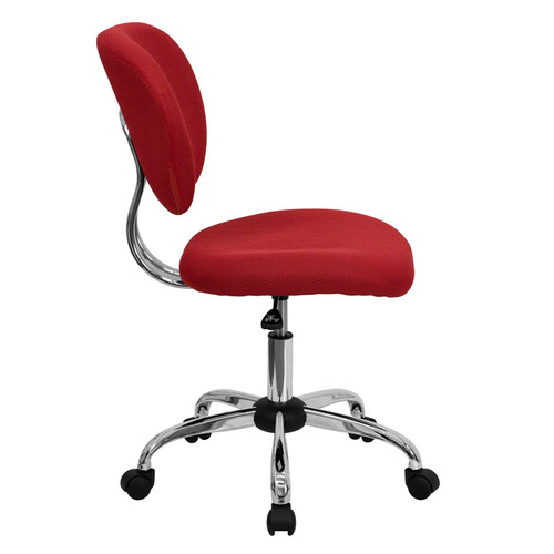Mid-Back Red Mesh Task Chair with Chrome Base , #FF-0122-14