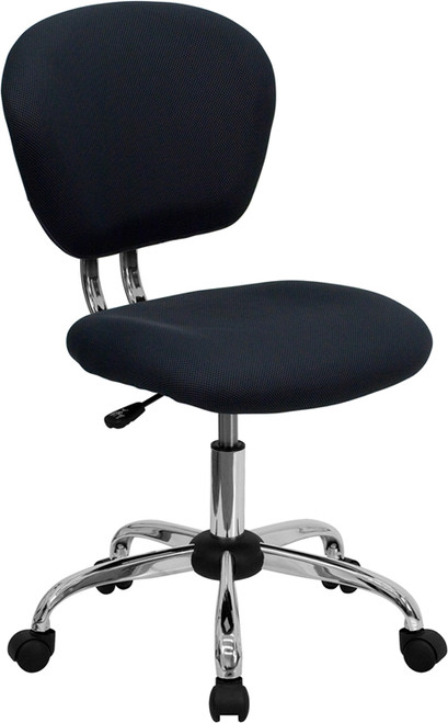 Mid-Back Gray Mesh Task Chair with Chrome Base , #FF-0138-14