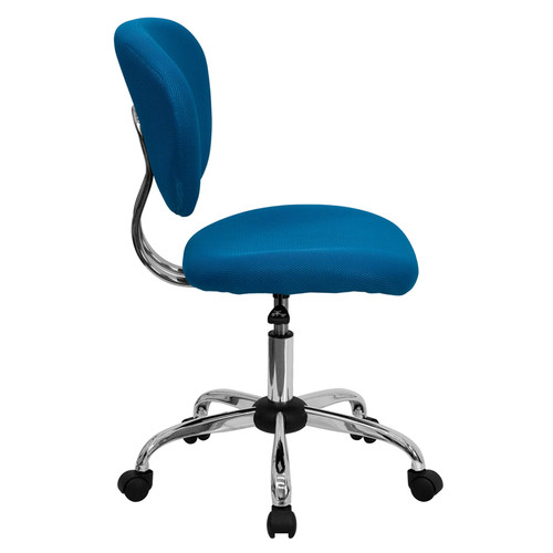 Mid-Back Turquoise Mesh Task Chair with Chrome Base , #FF-0142-14