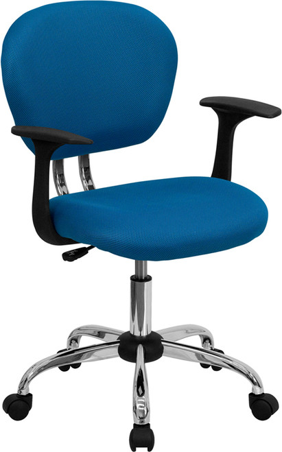 Mid-Back Turquoise Mesh Task Chair with Arms and Chrome Base , #FF-0144-14