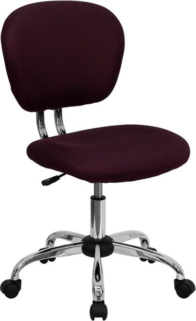 Mid-Back Burgundy Mesh Task Chair with Chrome Base , #FF-0146-14