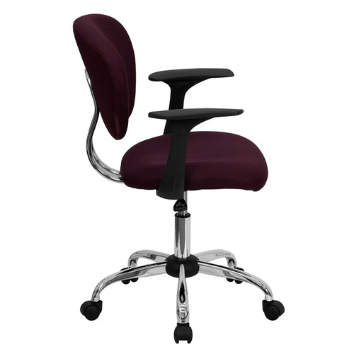 Mid-Back Burgundy Mesh Task Chair with Arms and Chrome Base , #FF-0148-14