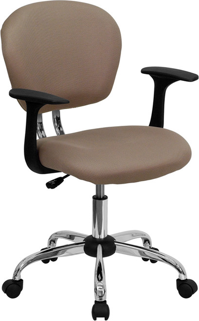 Mid-Back Coffee Brown Mesh Task Chair with Arms and Chrome Base , #FF-0152-14