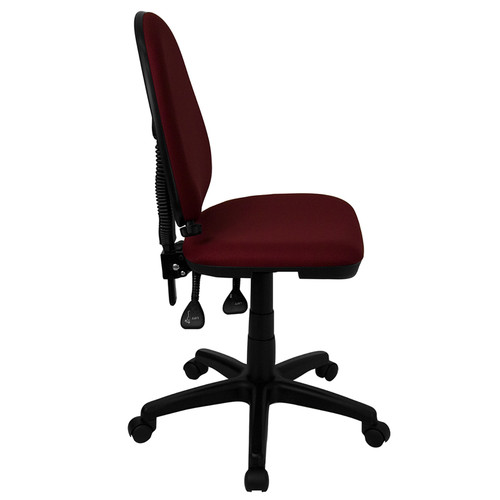 Mid-Back Burgundy Fabric Multi-Functional Task Chair with Adjustable Lumbar Support , #FF-0346-14