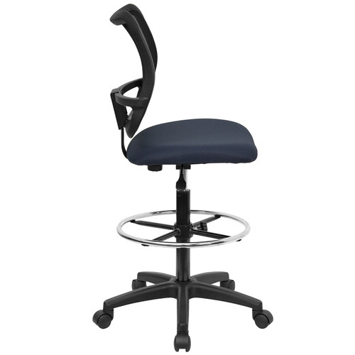 Mid-Back Mesh Drafting Stool with Navy Blue Fabric Seat , #FF-0522-14