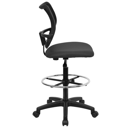 Mid-Back Mesh Drafting Stool with Gray Fabric Seat , #FF-0523-14