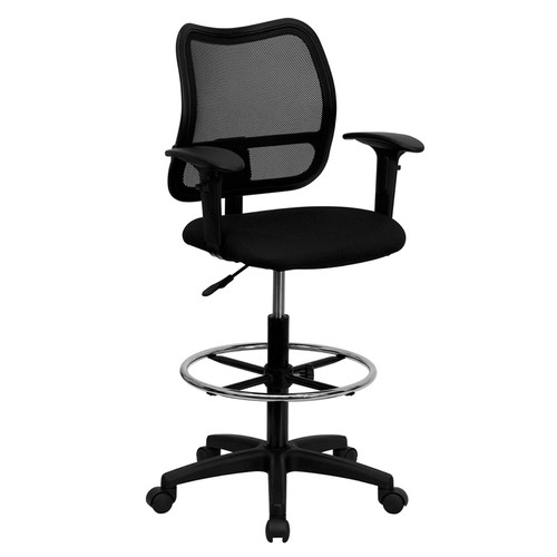 Mid-Back Mesh Drafting Stool with Black Fabric Seat and Arms , #FF-0524-14