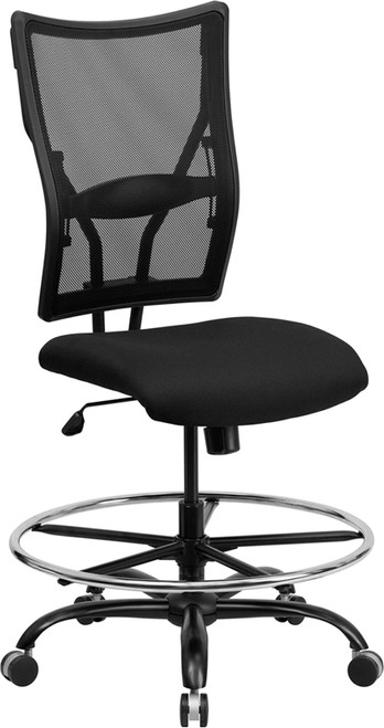 Big & Tall 400 lb. Capacity Big & Tall Black Mesh Drafting Stool , #FF-0315-14