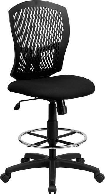 Mid-Back Designer Back Drafting Stool with Padded Fabric Seat , #FF-0503-14