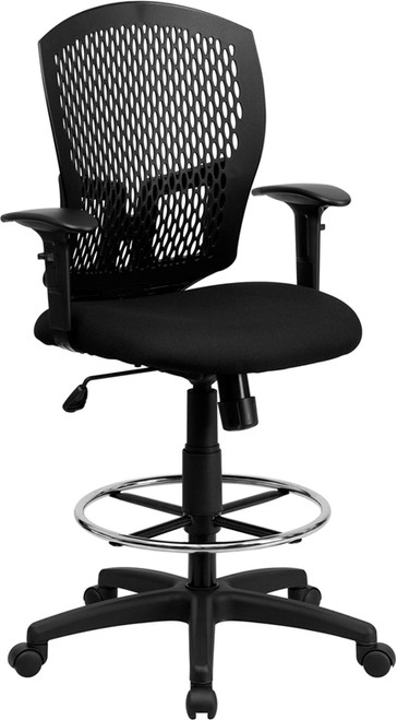 Mid-Back Designer Back Drafting Stool with Padded Fabric Seat and Arms , #FF-0504-14
