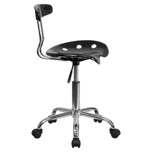 Vibrant Black and Chrome Computer Task Chair with Tractor Seat , #FF-0395-14