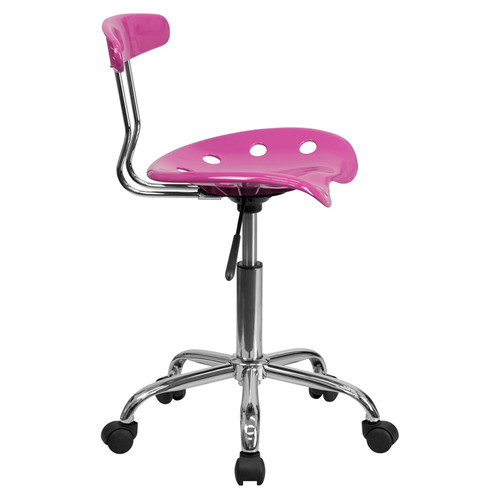 Vibrant Candy Heart and Chrome Computer Task Chair with Tractor Seat , #FF-0417-14