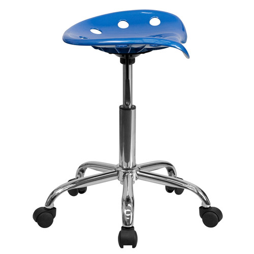 Vibrant Bright Blue Tractor Seat and Chrome Stool , #FF-0490-14