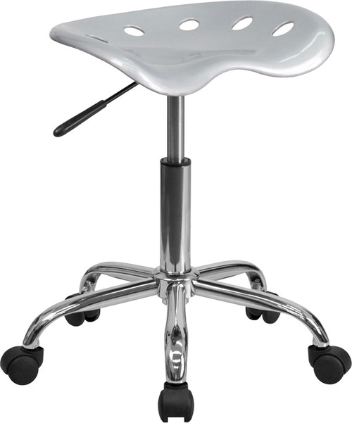 Vibrant Silver Tractor Seat and Chrome Stool , #FF-0499-14