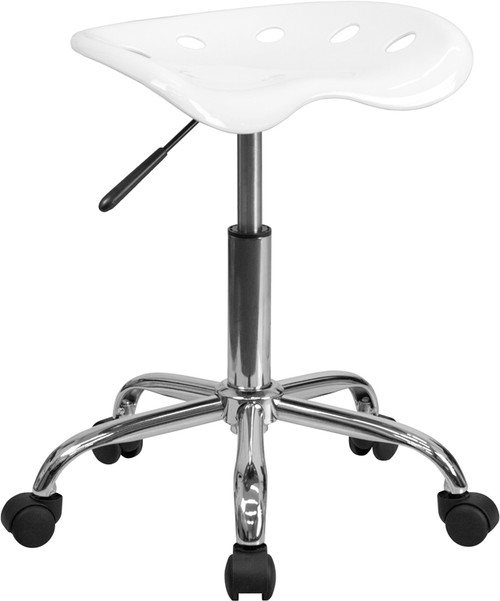 Vibrant White Tractor Seat and Chrome Stool , #FF-0500-14