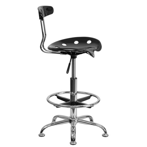 Vibrant Black and Chrome Drafting Stool with Tractor Seat , #FF-0543-14