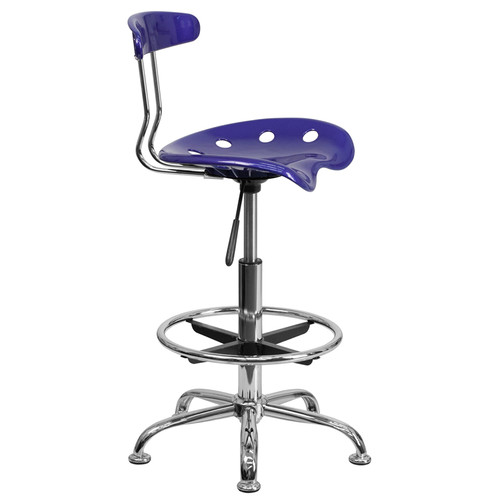 Vibrant Deep Blue and Chrome Drafting Stool with Tractor Seat , #FF-0549-14