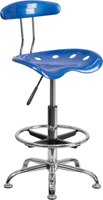 Vibrant Bright Blue and Chrome Drafting Stool with Tractor Seat , #FF-0551-14