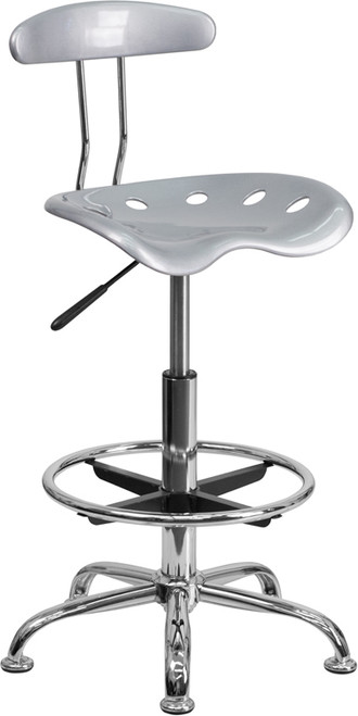 Vibrant Silver and Chrome Drafting Stool with Tractor Seat , #FF-0571-14