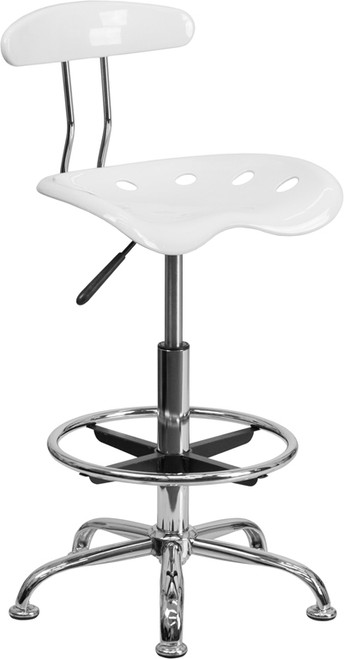 Vibrant White and Chrome Drafting Stool with Tractor Seat , #FF-0573-14