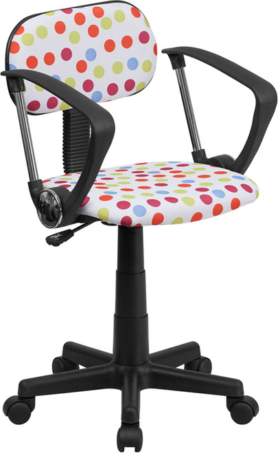 Multi-Colored Dot Printed Computer Chair with Arms , #FF-0390-14