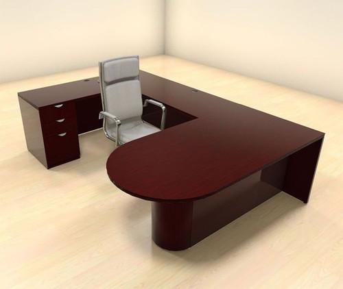4pc U Shaped Modern Contemporary Executive Office Desk Set, #CH-JAD-U12