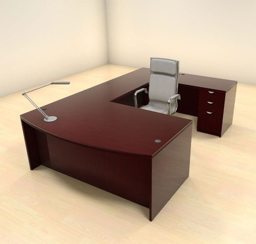 4pc U Shaped Modern Contemporary Executive Office Desk Set, #CH-JAD-U2