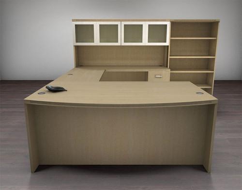 6pc U Shaped Modern Executive Office Desk Set, #CH-AMB-U77