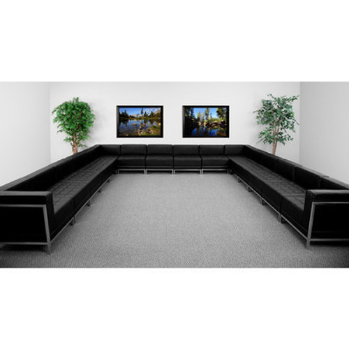 16pc Modern Leather Office Reception Sectional Sofa Set, FF-0433-12-S10