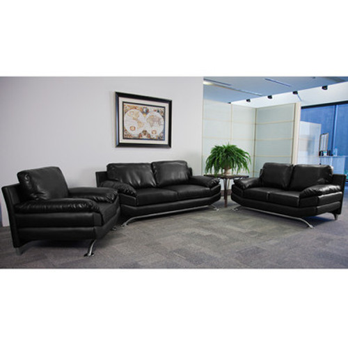 3pc Modern Leather Office Reception Sofa Set, FF-0475-12-S1