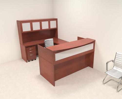 5pc Modern Contemporary U Shaped Glass Reception Desk Set, #RO-ABD-R11