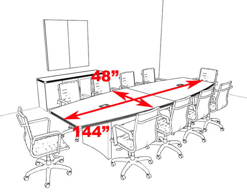 Modern Contemporary Boat Shaped 12' Feet Conference Table, #RO-ABD-C10